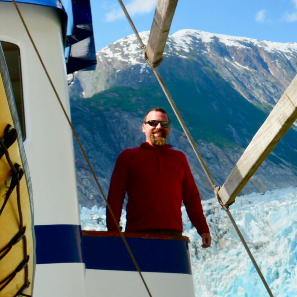 Captain Josh outside the pilothouse on the upper deck.