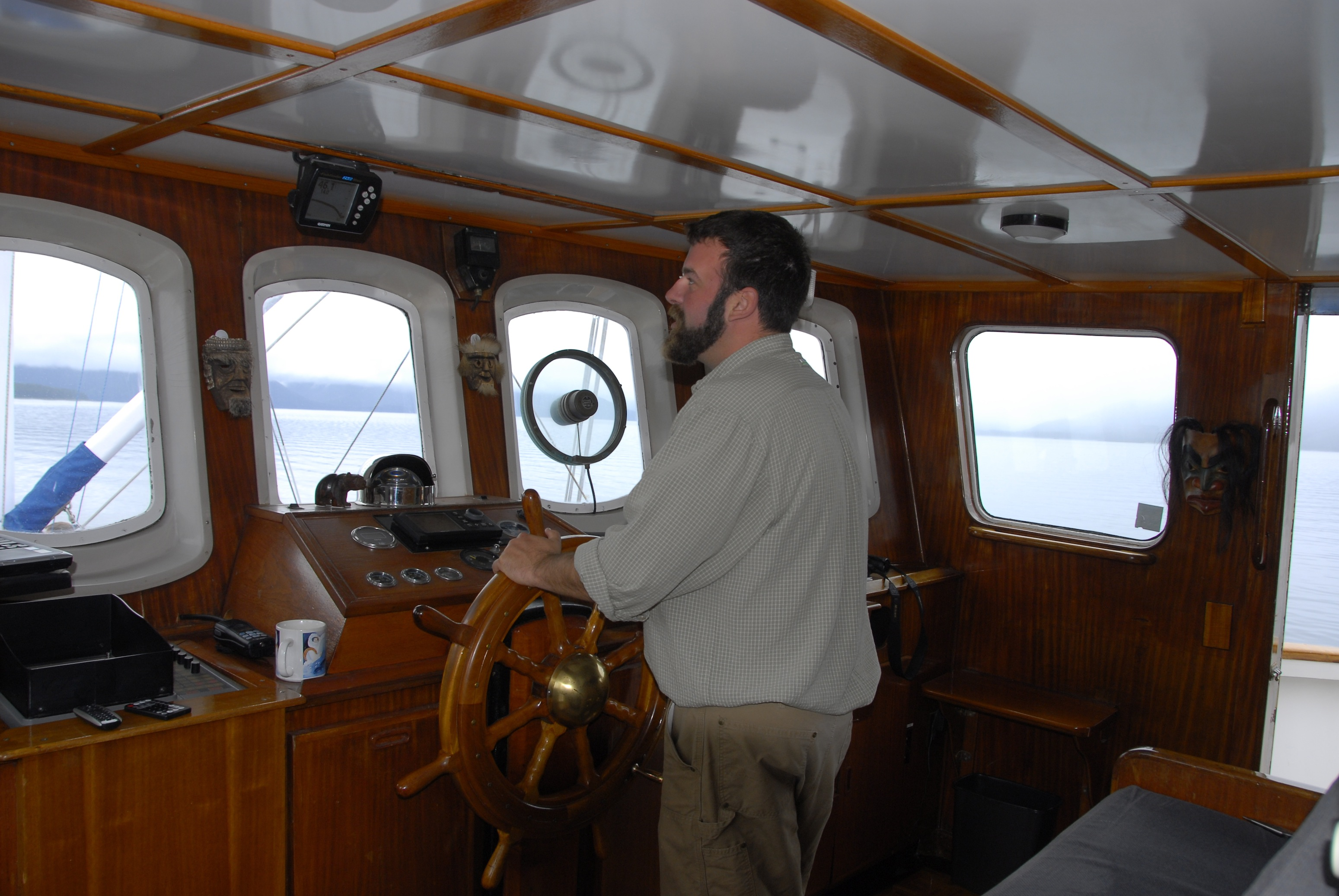 Captain Josh in the pilothouse.