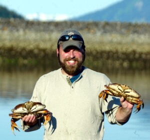 Captain Josh with Fresh Dungeness Crab