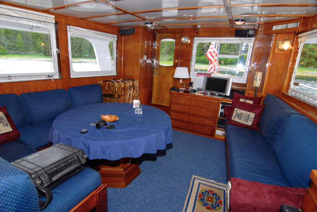 The salon of the Ursa Major (looking aft).