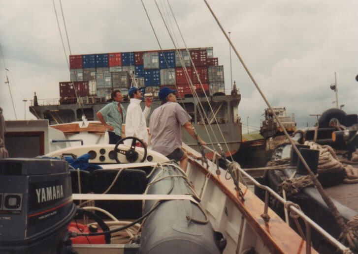 Gatun Lock - Al Hoffman, Dave Lord, and Steve Van Cleve - behind Panamex ship, sidetied to the tug Morrow